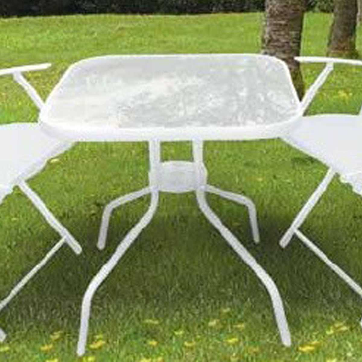 Tavolo Mercurio 70x70x72h in acciaio verniciato bianco