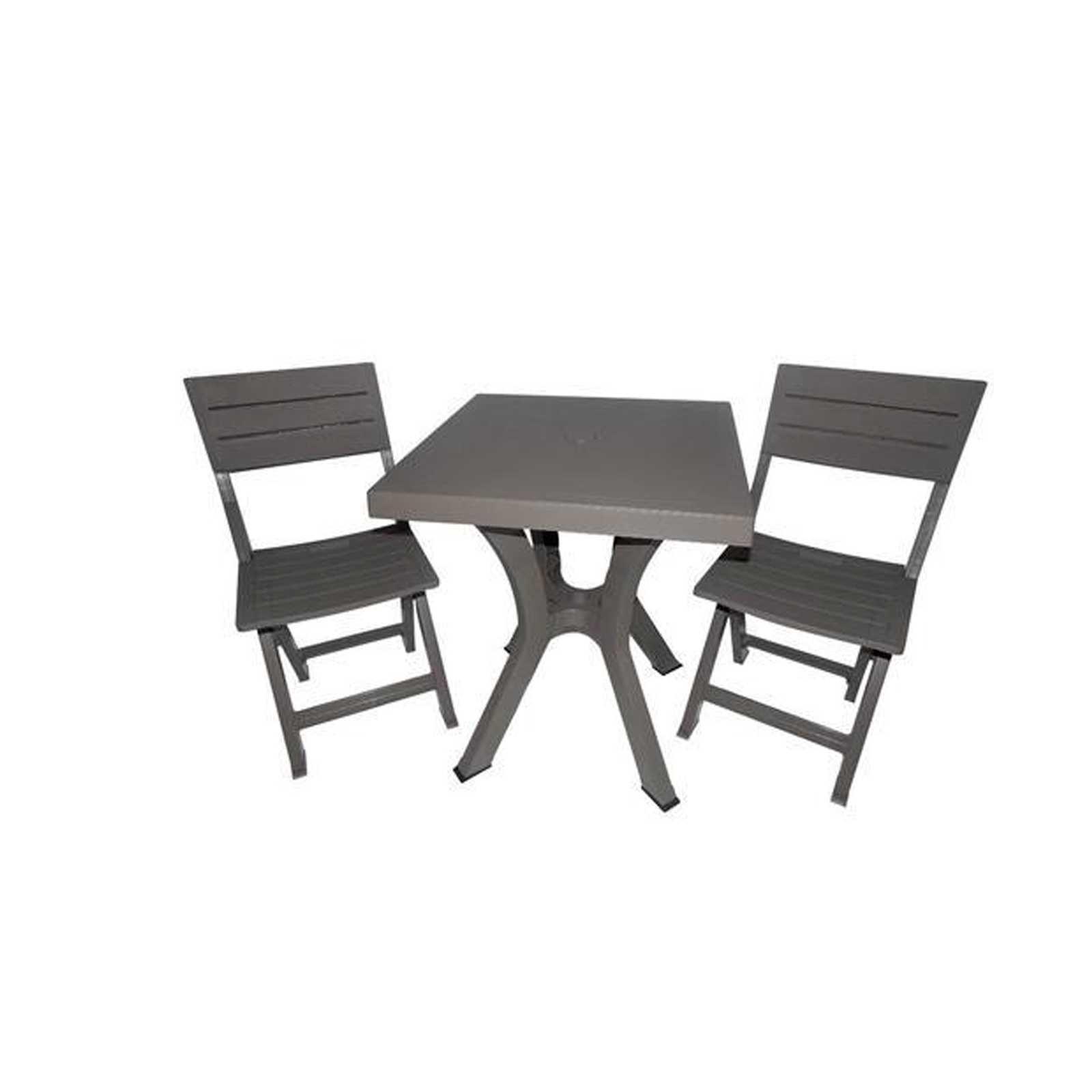 Arredo Duetto resina antiurto tortora con tavolo ad incrocio e due sedie pieghevoli