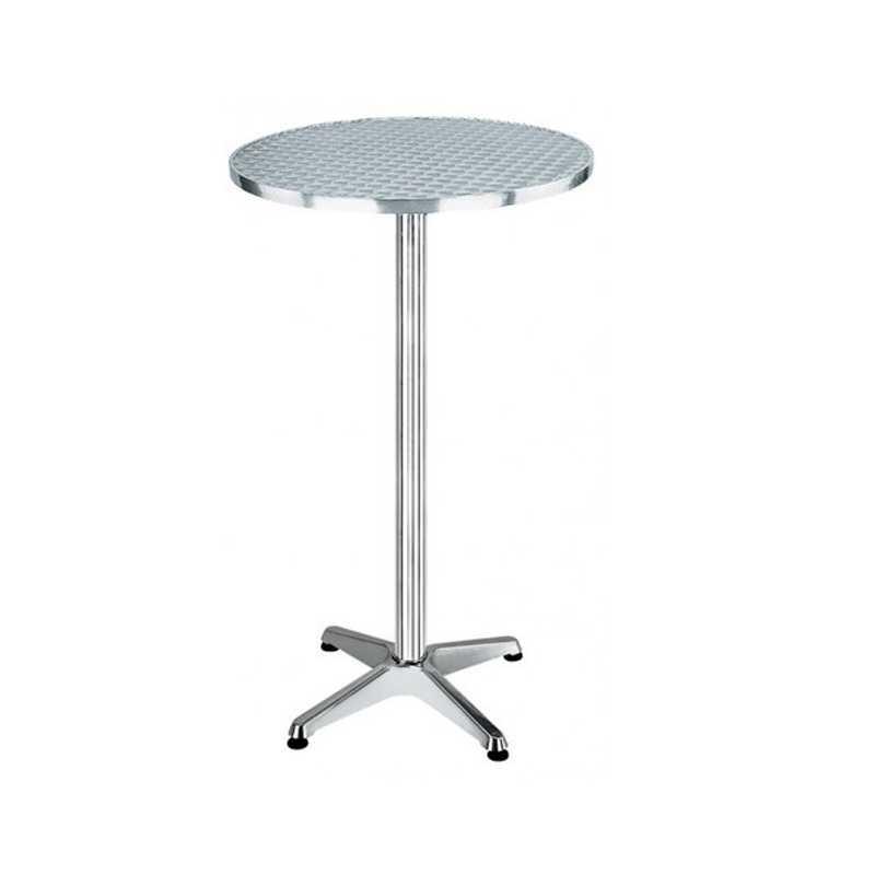 Tavolino tondo con piano acciaio inox ribaltabile e base a quattro razze
