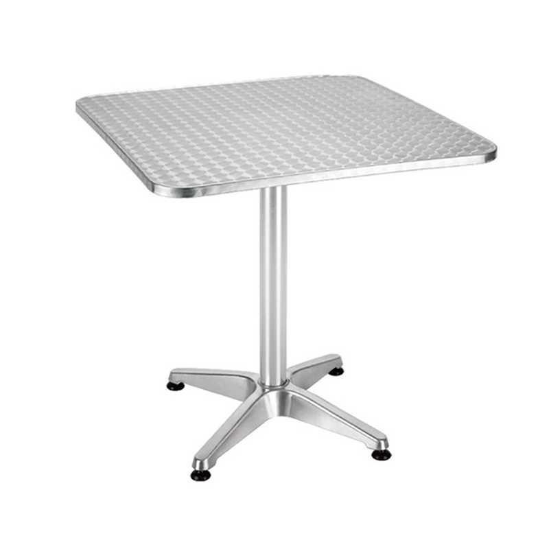 Tavolino rettangolare 70x70x70h con piano acciaio inox e base a quattro razze