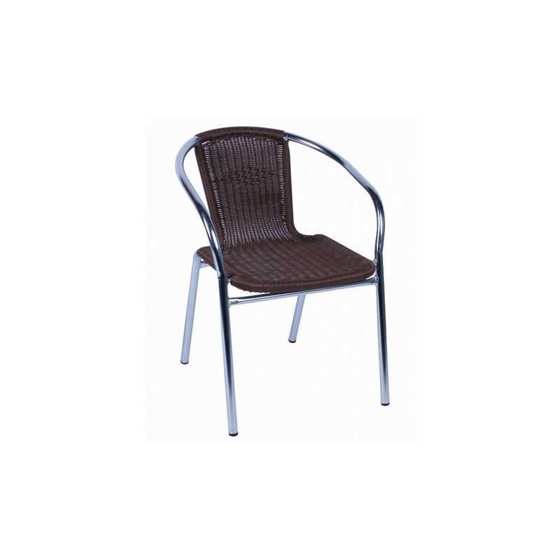 Poltrona 57x55x74h con seduta e schienale in polirattan