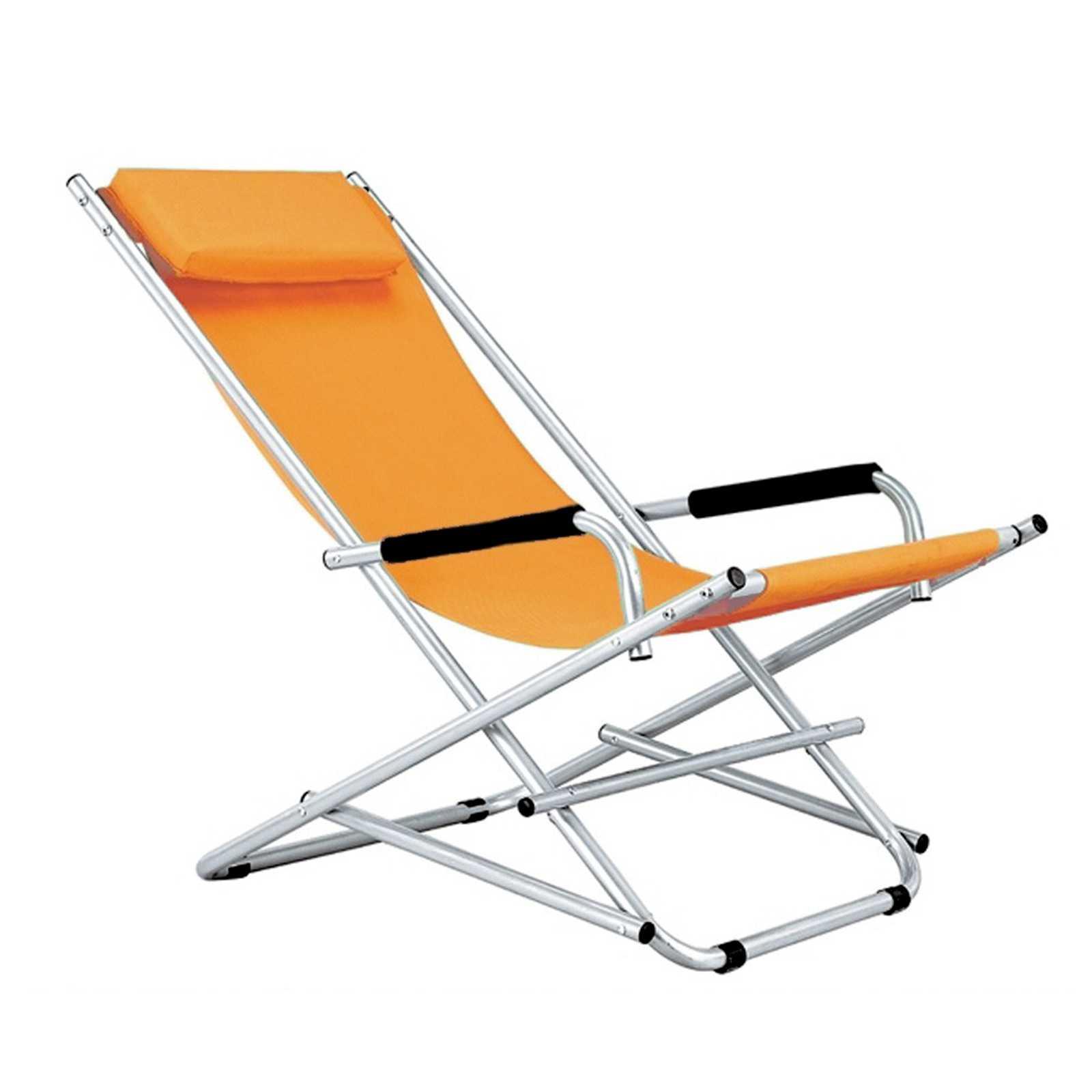 Sdraio Magnum serie Katia con struttura in acciaio e rivestimento arancione