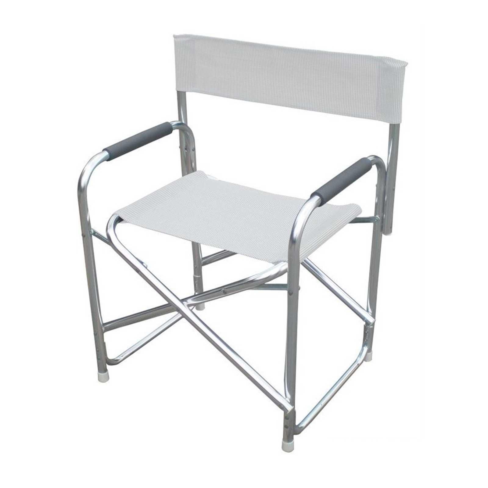 Poltrona Magnum serie Playa struttura in tubolare di alluminio satinato e textilene bianco
