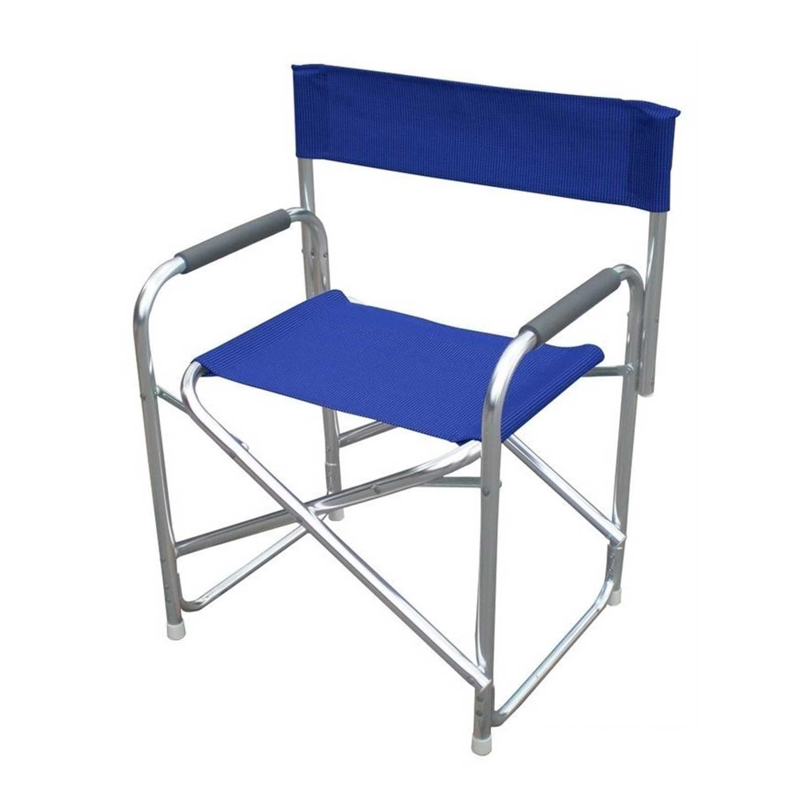 Poltrona Magnum serie Playa struttura in tubolare di alluminio satinato e textilene blu