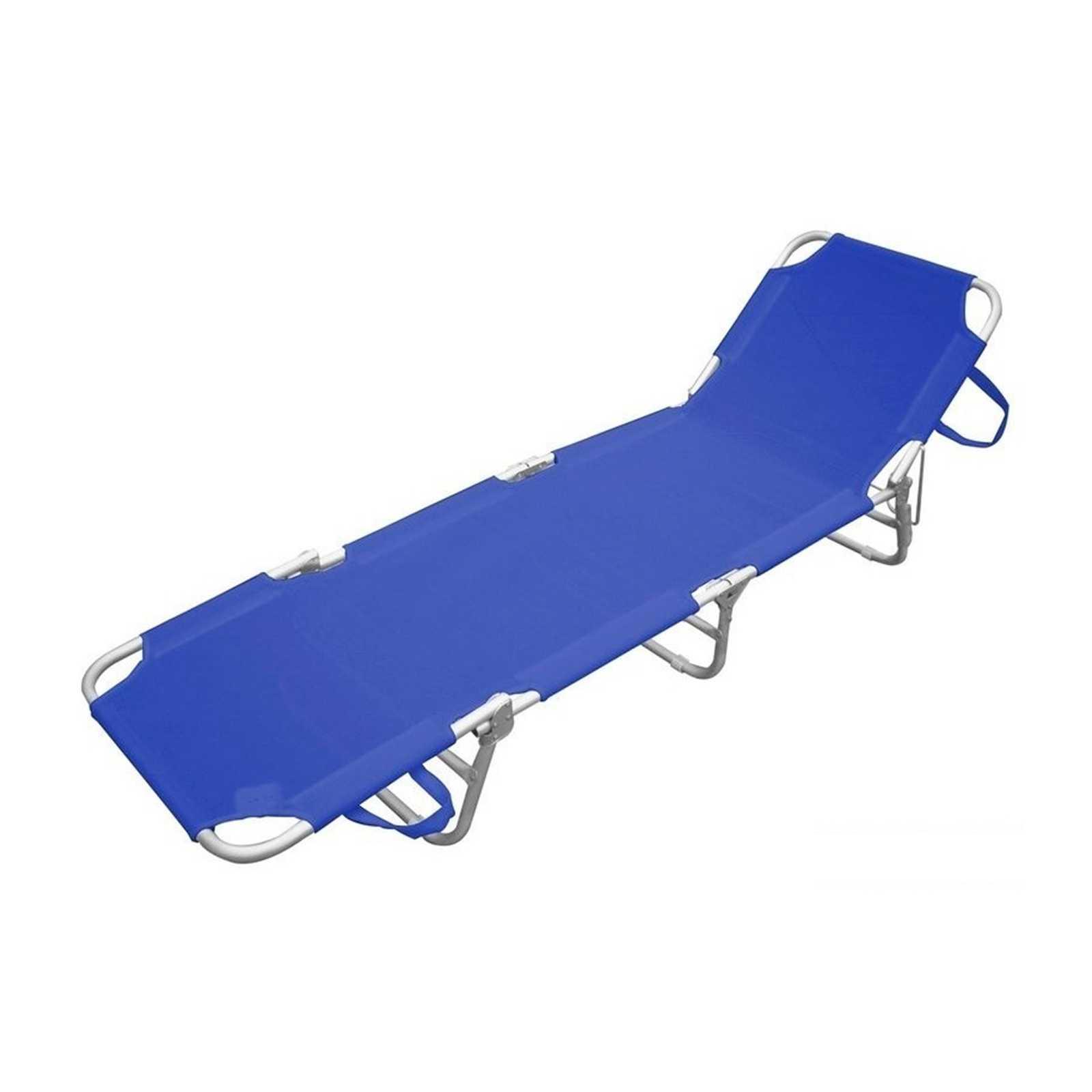 Lettino serie Playa struttura in alluminio satinato e textilene blu