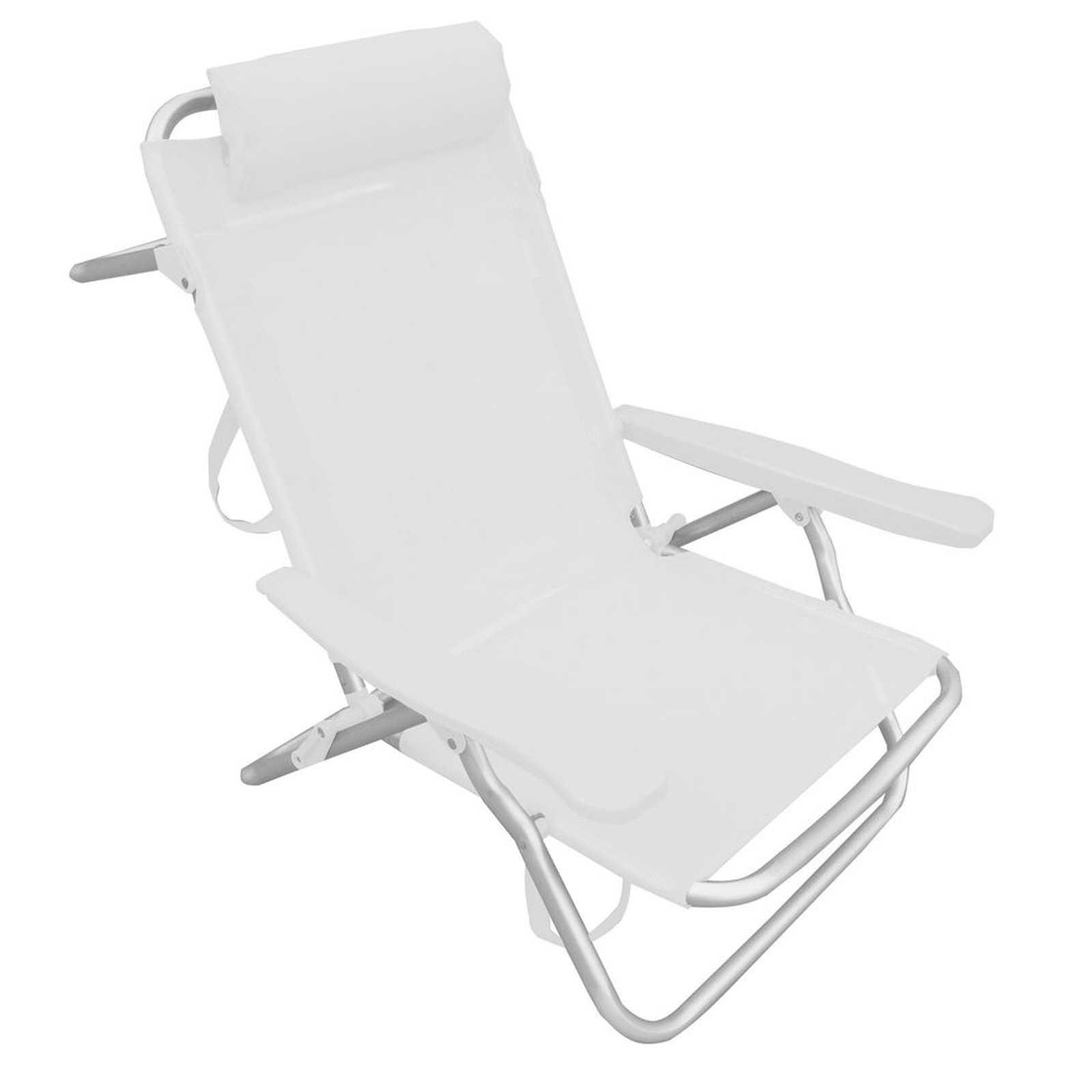 Spiaggina reclinabile 53x62x77h in tubolare di alluminio e rivestimento bianco