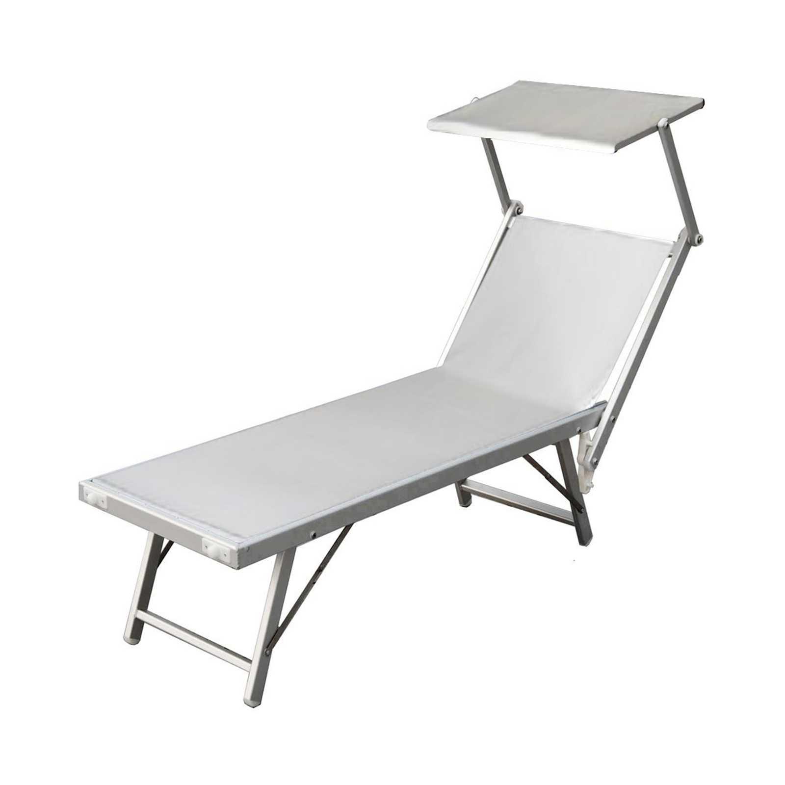 Lettino in alluminio 186x70x40h con rivestimento bianco e schermo parasole
