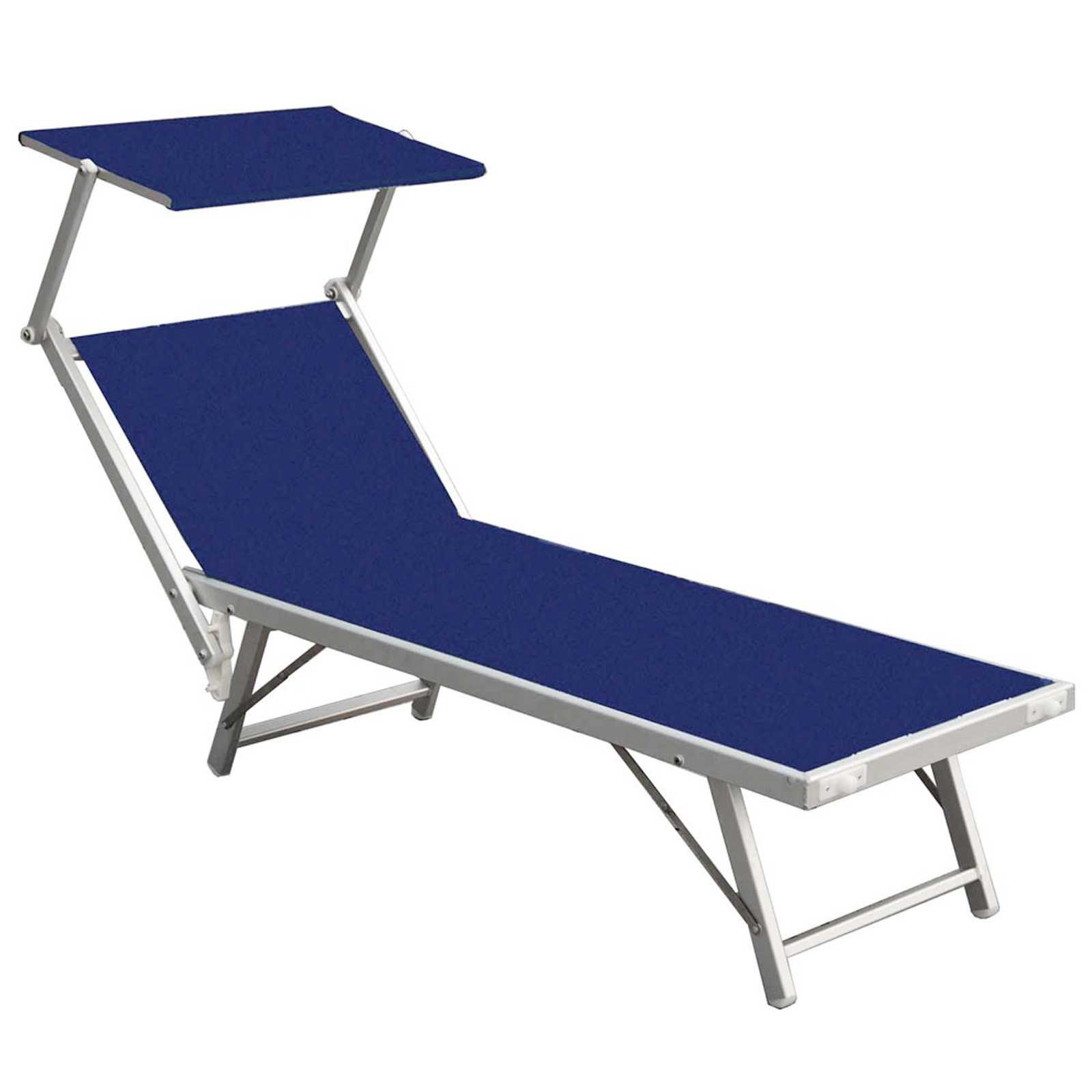 Lettino 186x70x40h in alluminio e rivestimento blu con schermo parasole