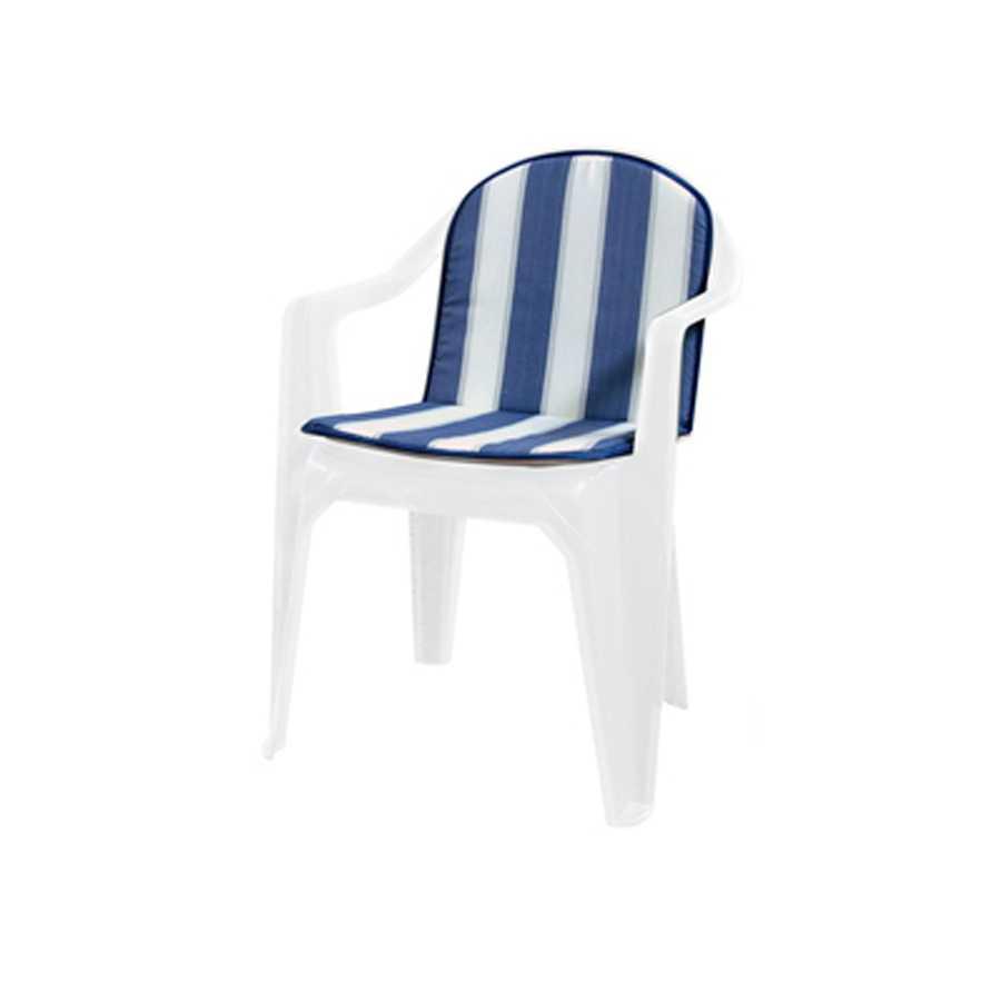 Cuscino Double rigato blu con schienale e spessore di 2 cm