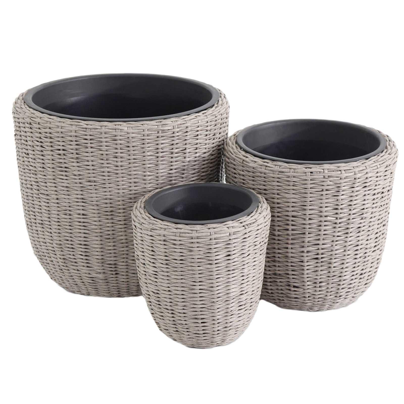 Set con 3 portavasi forma circolare in polirattan con struttura in acciaio