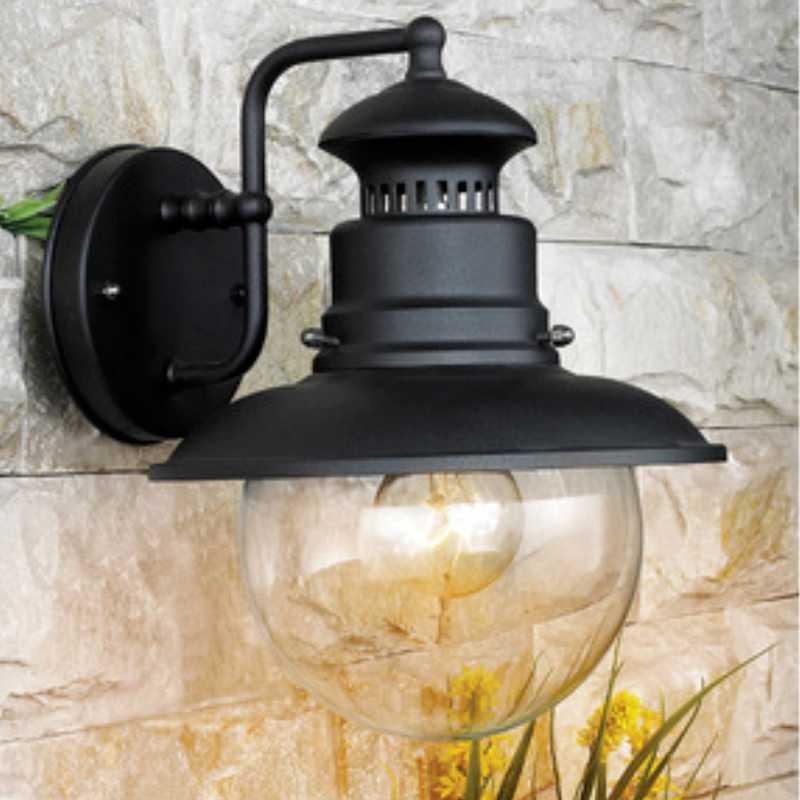 Lanterna Marina cm 22x26x27h corpo in acciaio nero e globo in vetro