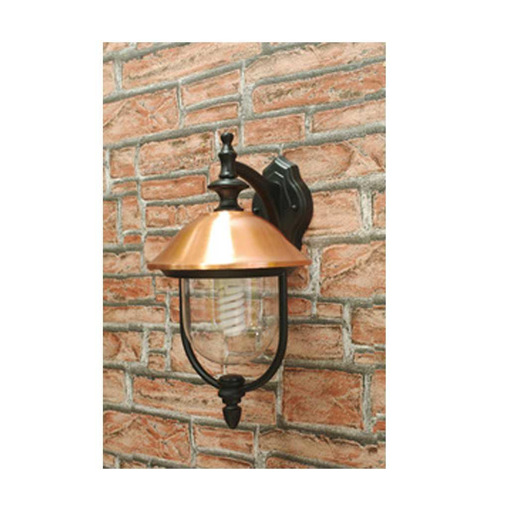 Lanterna con braccio Copper cm 25x28x45h corpo in alluminio nero e copertura in rame