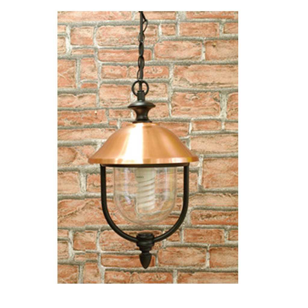 Lanterna con catena Copper cm 25x45  in alluminio verniciato nero e copertura in rame