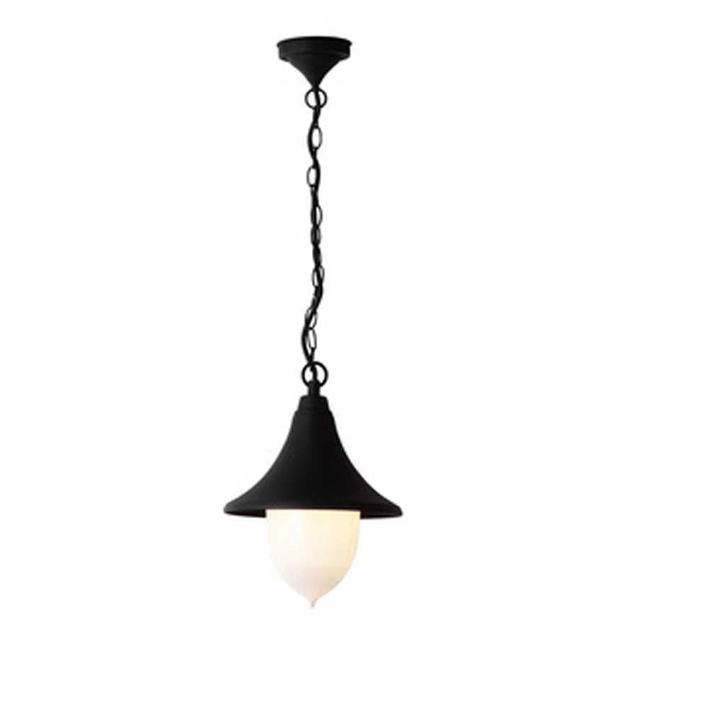 Lanterna nera con catena Parigi altezza 25 cm corpo in alluminio verniciato nero