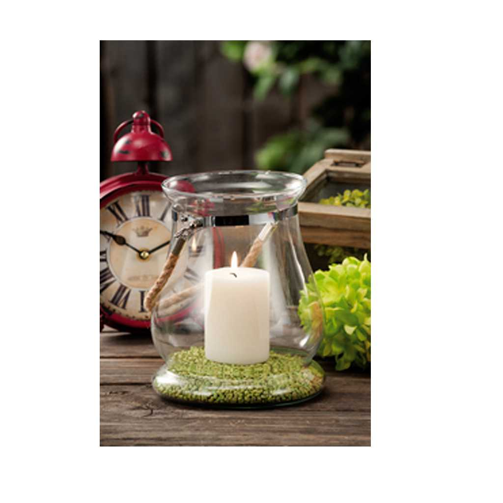 Lanterna portacandela in vetro diametro cm 15x19,5h
