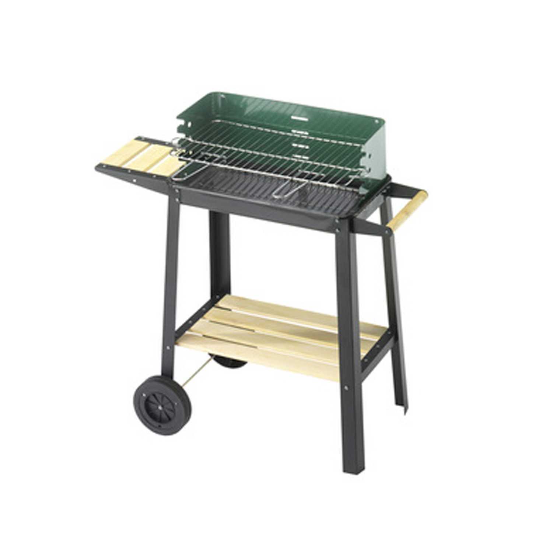 Barbecue OMPAGRILL 50-25 GREEN W con struttura e paravento in acciaio verniciato