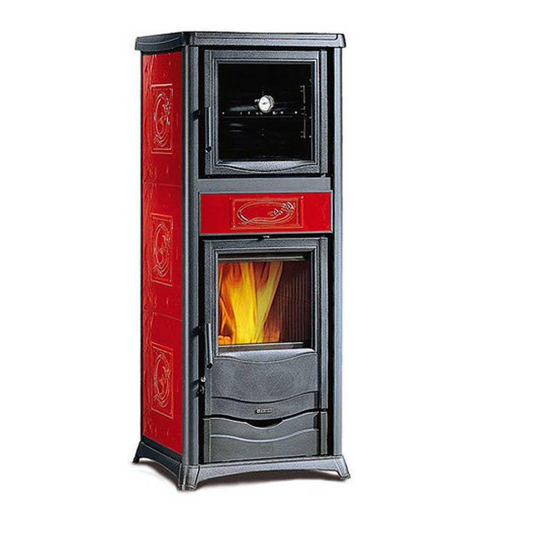 Stufa a legna  bordeaux Nordica Rossella Plus Forno Evo potenza termica 9,1 kW