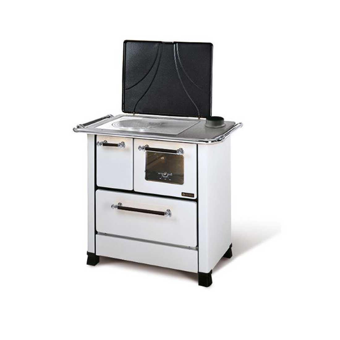 Cucina a legna bianca modello Romantica 4,5 di Nordica potenza termica 6,0 Kw