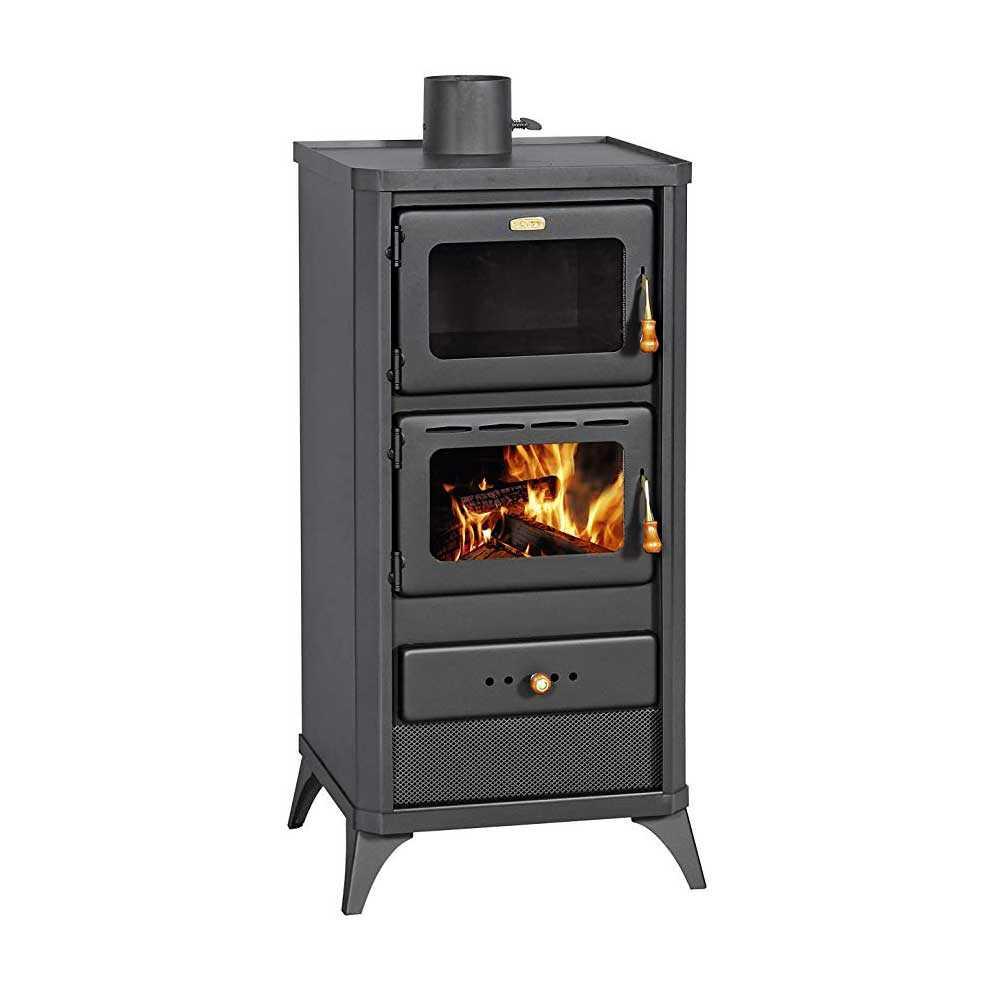 Stufa a legna con forno modello Fime nero opaco potenza termica 12,0 kW