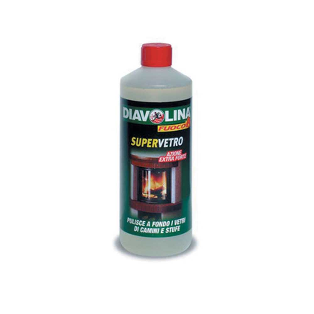 Detergente per pulire i vetri di stufe e camini flacone di ricarica da 1 litro