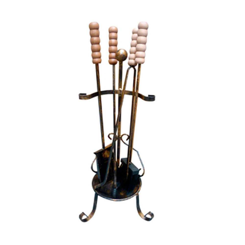 Set camino Alsazia in ferro battuto altezza 63 cm con 4 attrezzi con impugnature massello