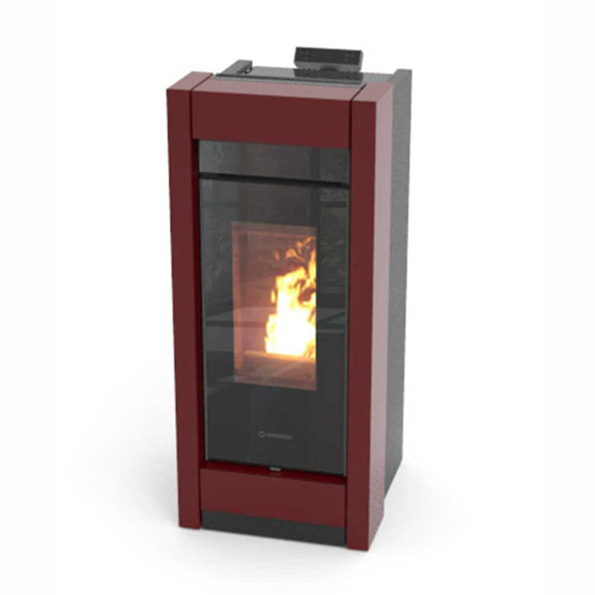 Termostufa a pellet bordeaux Thermorossi Essenza Idra Metalcolor 13,50 kW