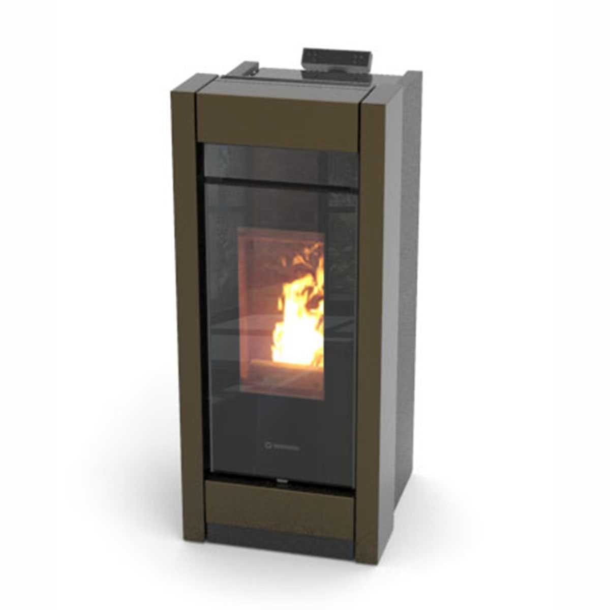 Termostufa a pellet nero-bronze Thermorossi Essenza Idra Metalcolor 13,50 kW