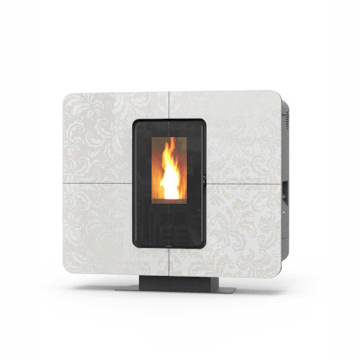 Termostufa a pellet modello  'SlimQuadro Idra' design salvaspazio con decorazione floreale by Thermorossi