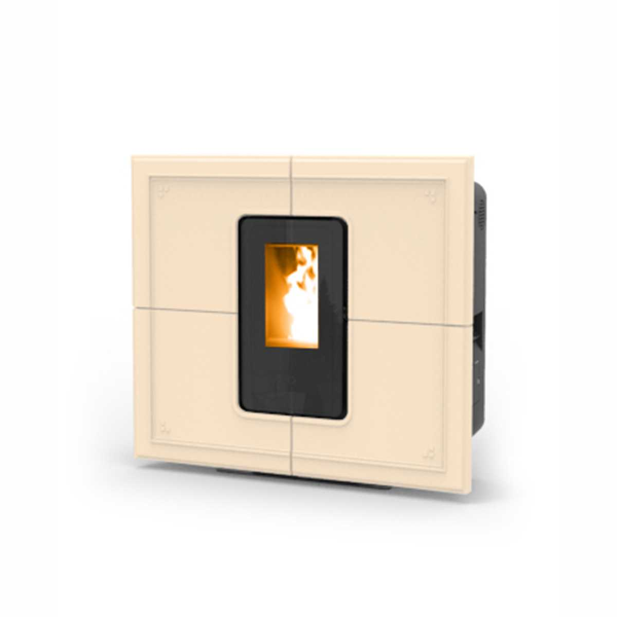 Termostufa a pellet  Thermorossi modello  'SlimQuadro Idra Maiolica' con assetto cenere e maniglia amovibile - color beige