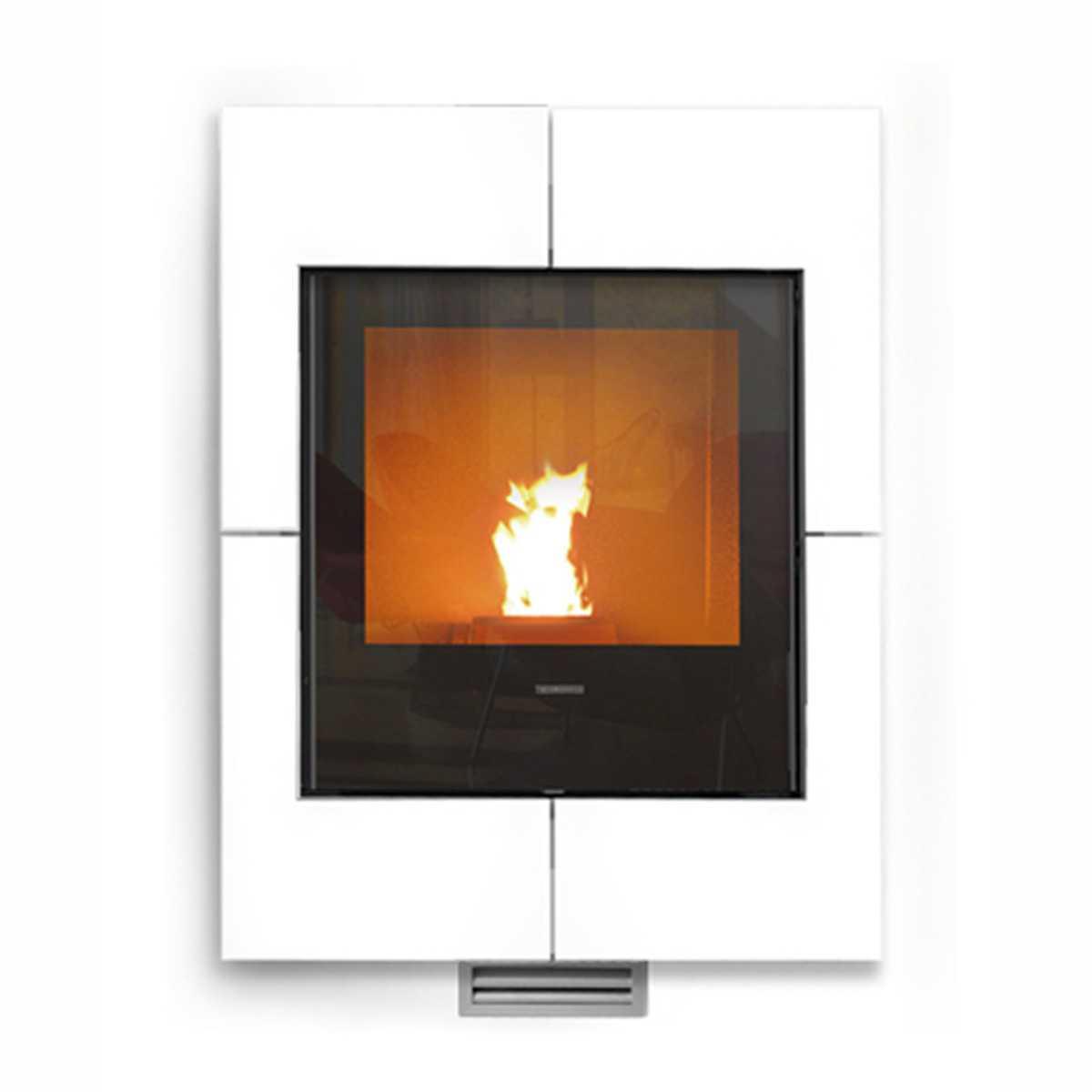 Termocamino a pellet Thermorossi Insert Idra Maxi cornice cristallo bianca 26,40 kW