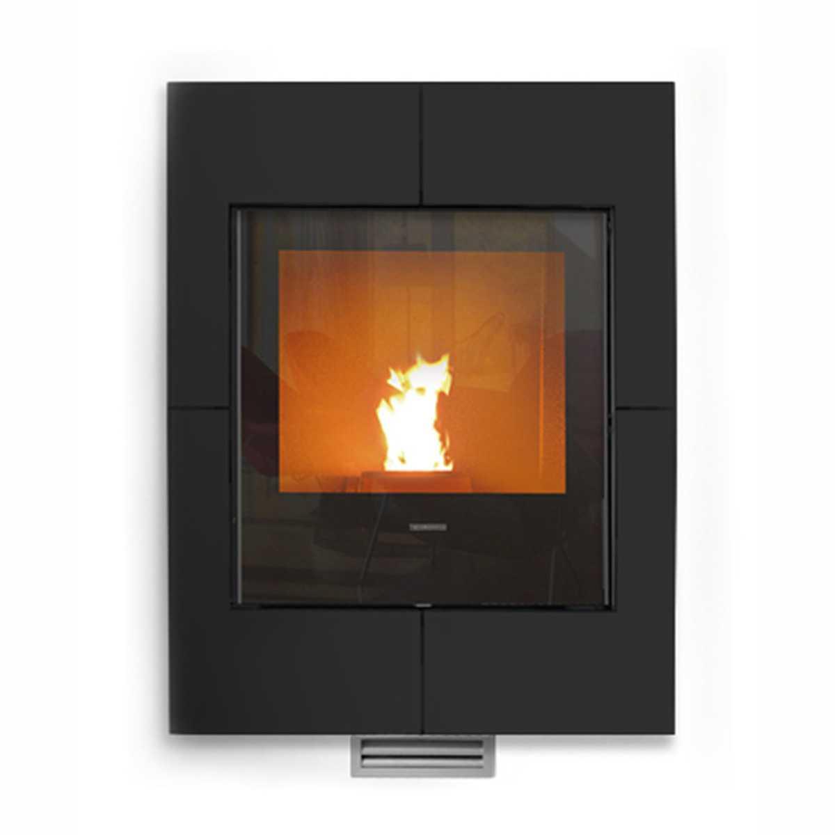 Termocamino a pellet Thermorossi Insert Idra Maxi cornice cristallo nero 26,40 kW