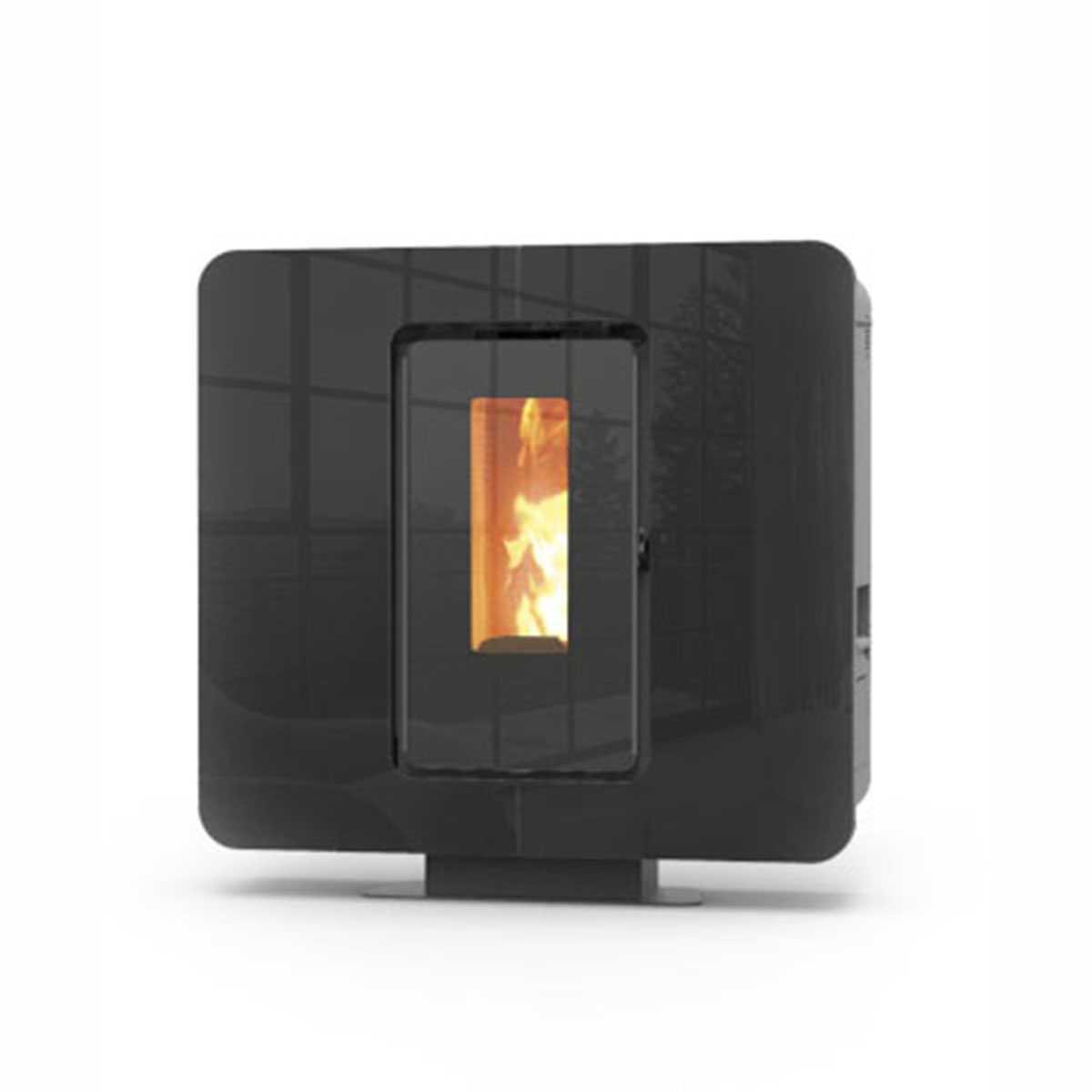 Stufa a pellet modello 'SlimQuadro 9 Cristallo' nera by Thermorossi 9,8 kW con bruciatore in ghisa pesante