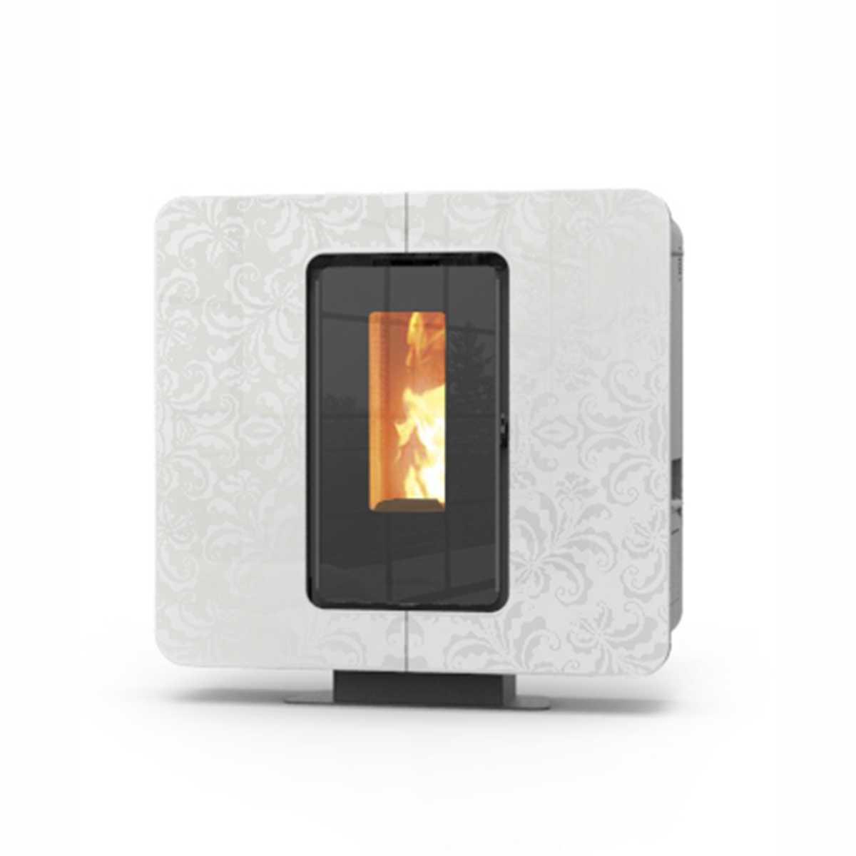 Stufa a pellet sundecor  'SlimQuadro 9 Cristallo' by Thermorossi camera di combustione in ghisa - 9,8 kW