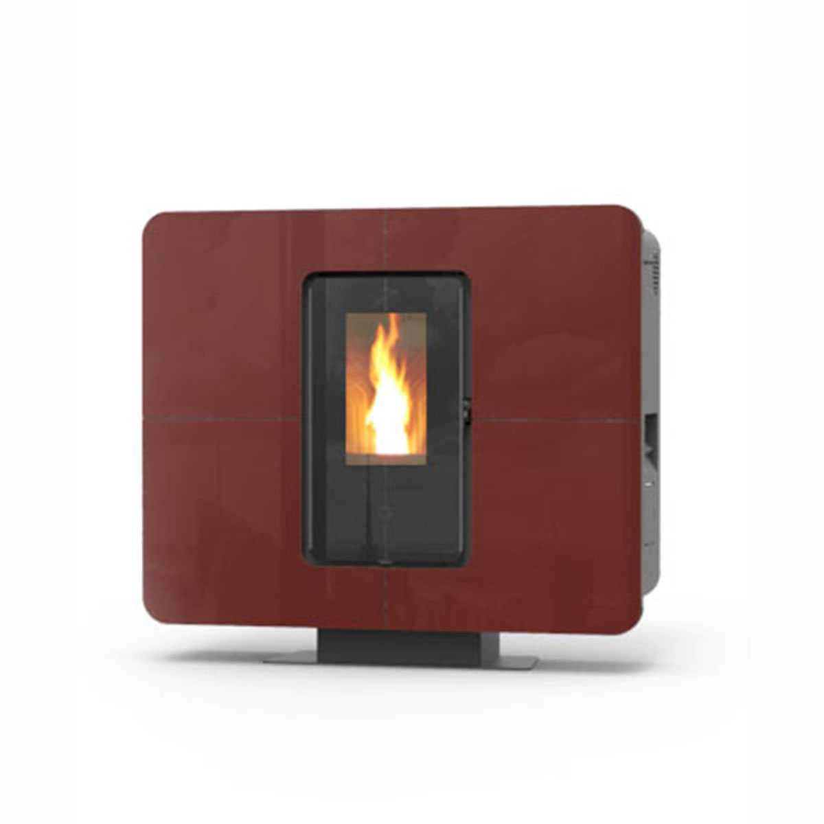 Stufa a pellet Thermorossi modello 'SlimQuadro 11 Cristallo' 11,4 kW bruciatore in ghisa - bordeaux