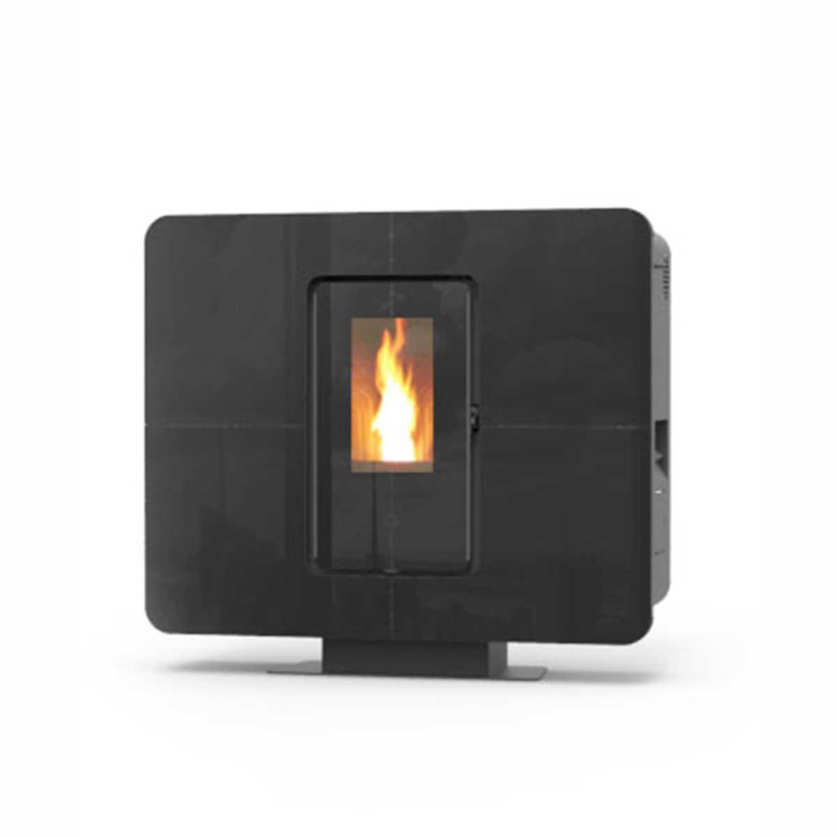 Stufa a pellet canalizzabile by Thermorossi modello 'SlimQuadro 11 Cristallo' nera 11,4 kW con display LCD integrato