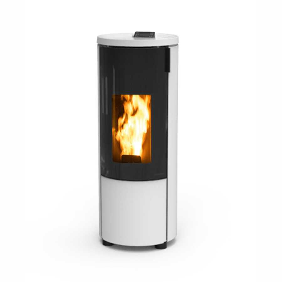 Stufa a pellet  modello 'Pop' by Thermorossi bianca 9,0 kW con rivestimento in metallo