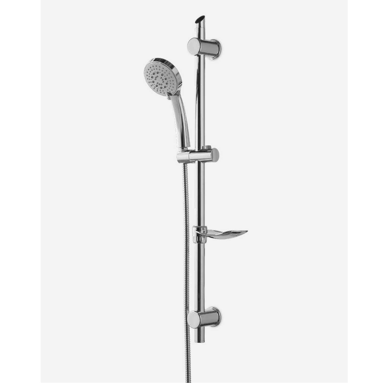 Saliscendi doccia Vicenza regolabile con asta in ottone, flessibile in metallo e portasapone