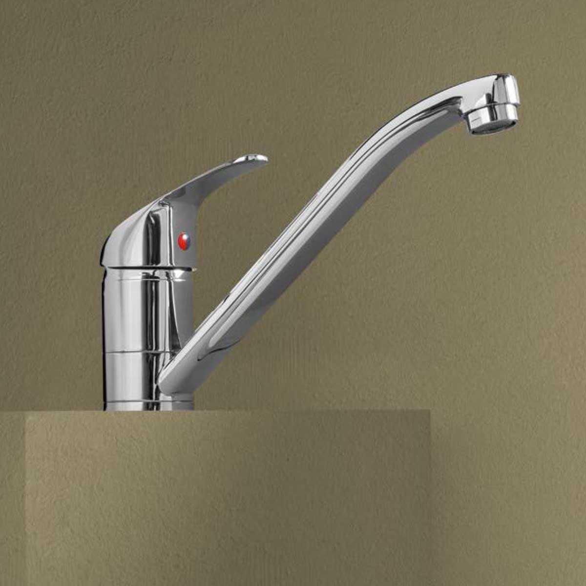 Miscelatore monocomando per lavello in ottone cromato serie Eco con bocca alta girevole