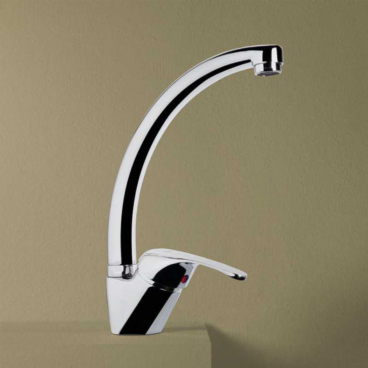 Miscelatore monocomando per lavello Eco con bocca girevole e flex di connessione