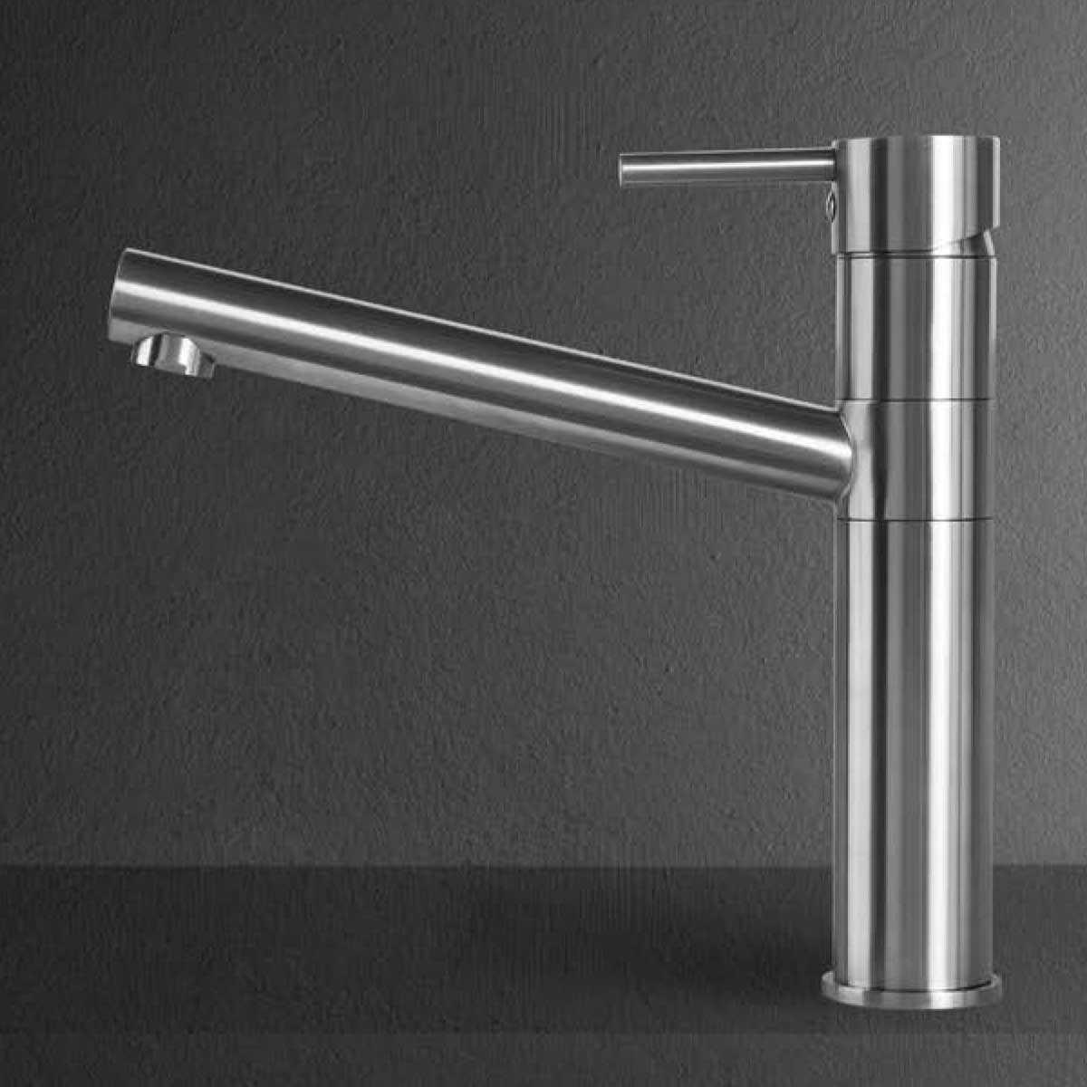 Miscelatore monocomando per lavello serie Steel  in acciaio con bocca alta girevole e cartuccia