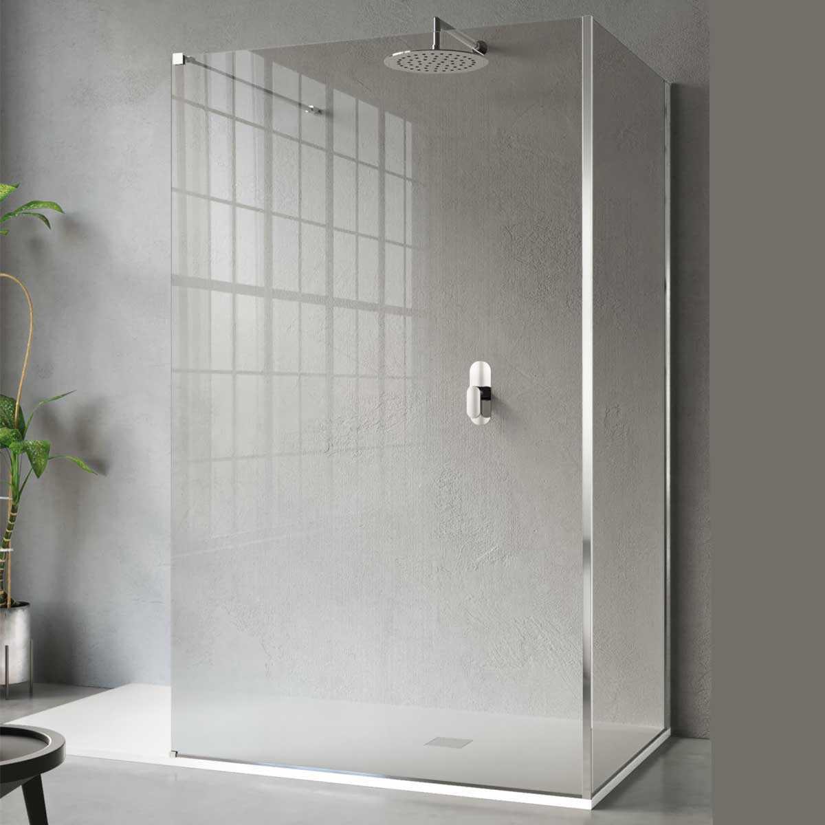 Parete doccia walk in Cristal 2.1 da 70 cm lato frontale con supporto acciaio inox