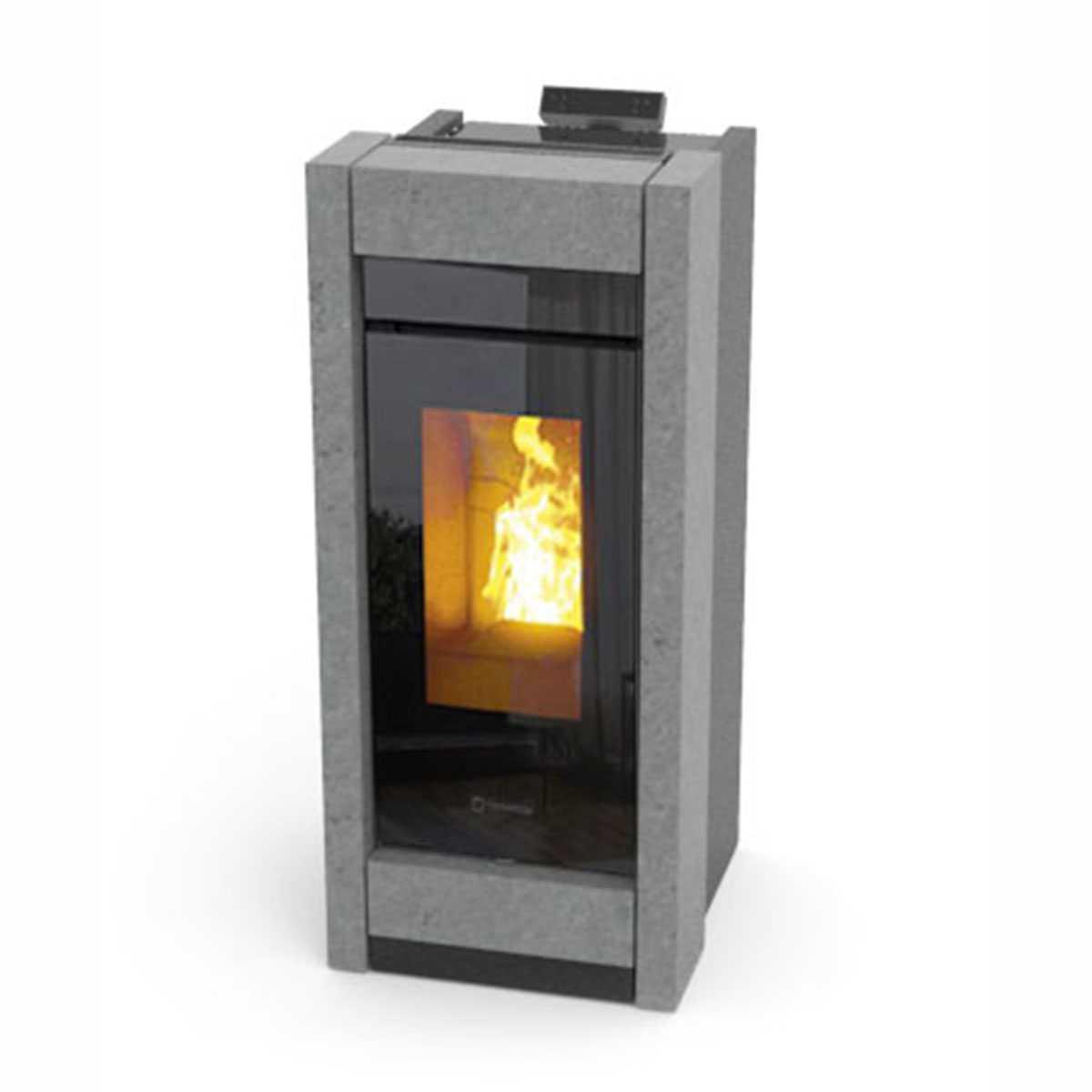 Stufa a pellet Essenza Stone Sistema Air Filter integrato -  13,2 kW con scaldavivande by Thermorossi