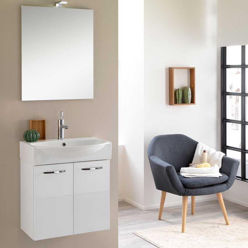 Mobile bagno sospeso Mini50 cm 50x190x40  laccato lucido bianco