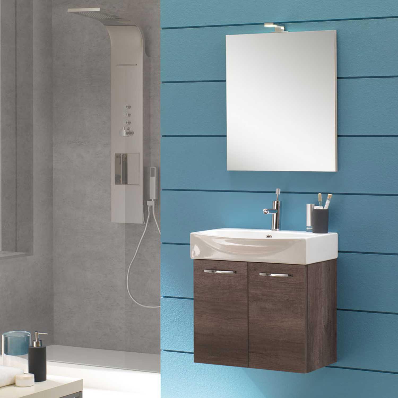 Mobile bagno sospeso Mini50 cm 50x190x42 rovere scuro
