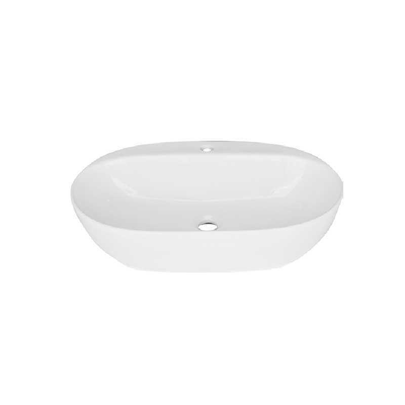 Lavabo da appoggio quadro angoli arrotondati ceramica bianca 60x41 H.15 cm