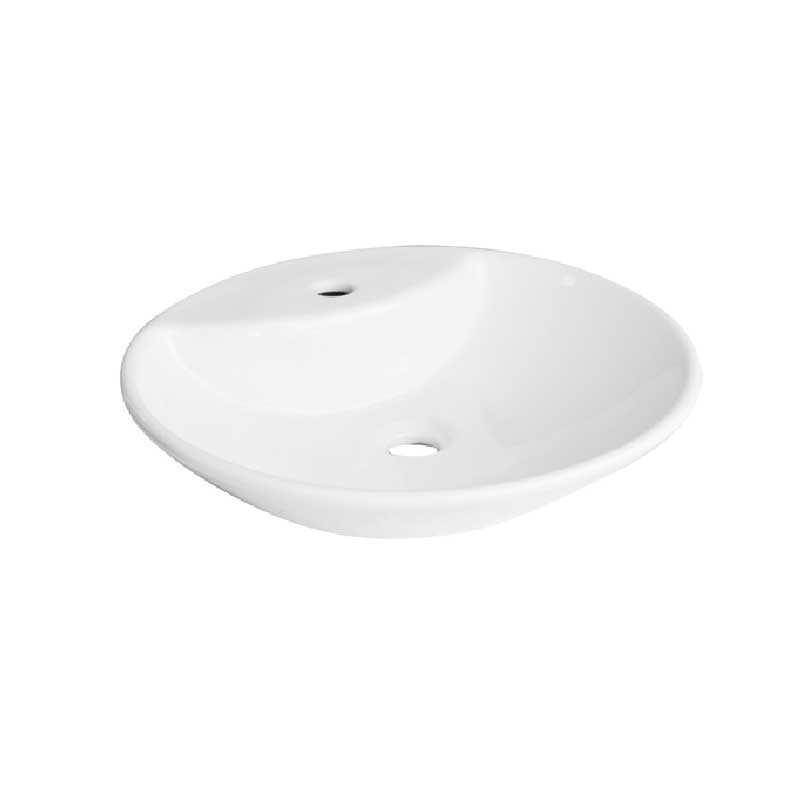 Lavabo da appoggio rotondo ceramica bianca senza troppio pieno diametro 44 cm