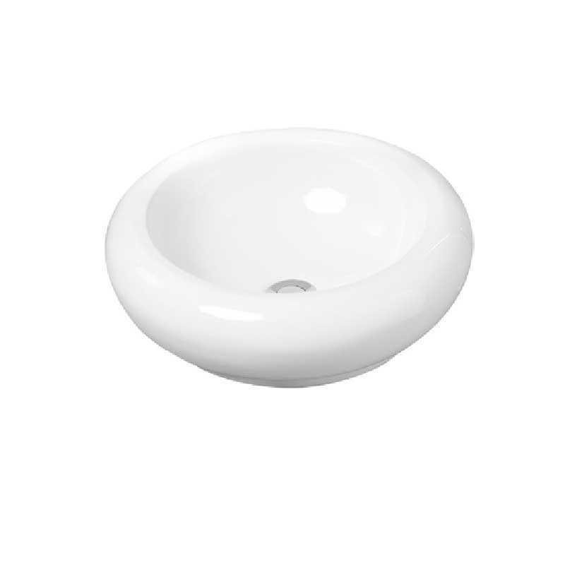 Lavabo da appoggio tondo in ceramica bianca con diametro 44 cm