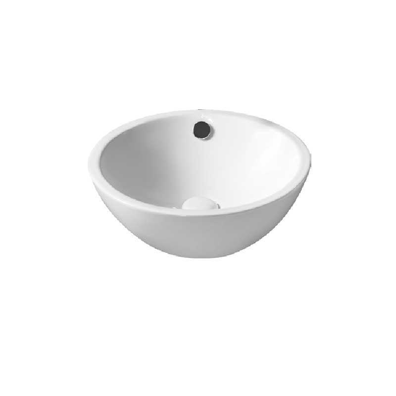 Lavabo da appoggio bianco tondo con troppo pieno diametro 39,5 cm