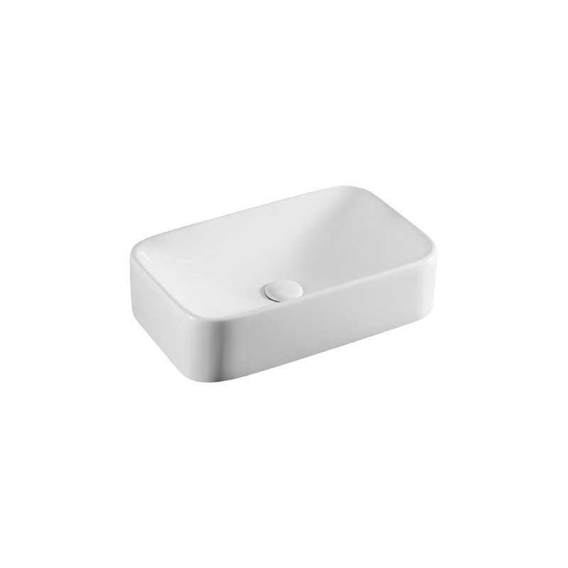 Lavabo d'appoggio rettangolare in ceramica bianca 48,5x28,5 H.12,5 cm