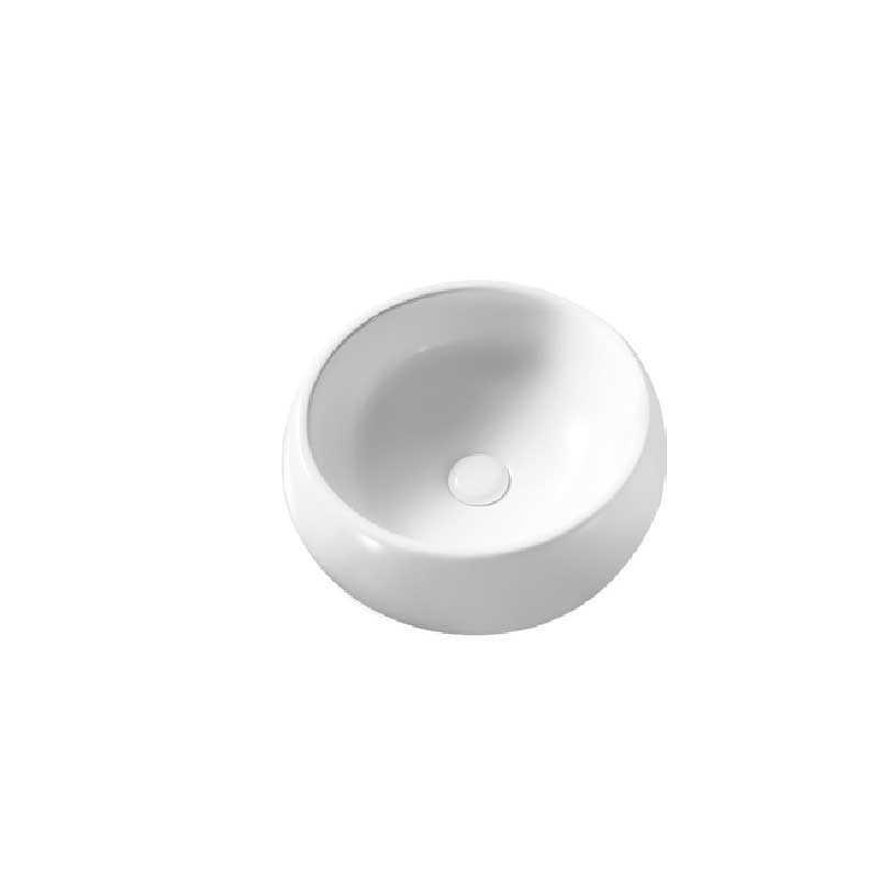 Lavabo d'appoggio tondo ceramica bianca diametro 39,5 cm